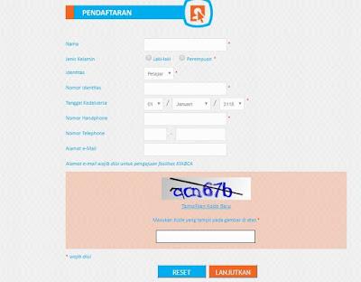 Contoh Formulir tabungan BCA Online
