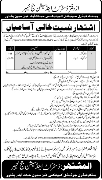 District Judiciary Khyber Jobs in Pakistan - Download Job Application Form - districtcourtskhyber.gov.pk Jobs 2021
