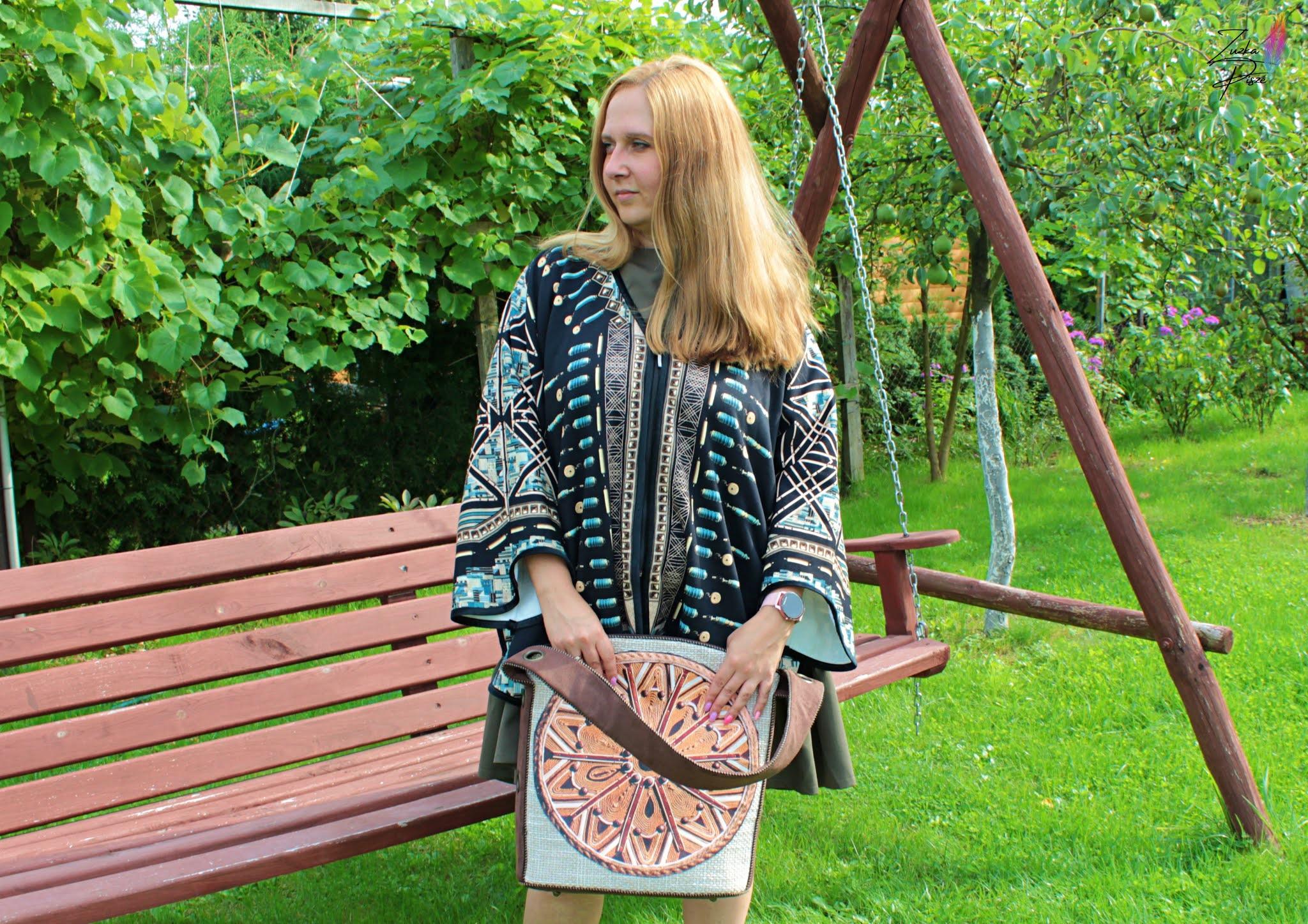 Ponczo / kardigan damski w stylu modern BOHO - Projekt AKWAMARYN - RYHENKA
