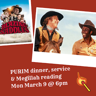 Purim dinner, service, and Megillah reading - March 9