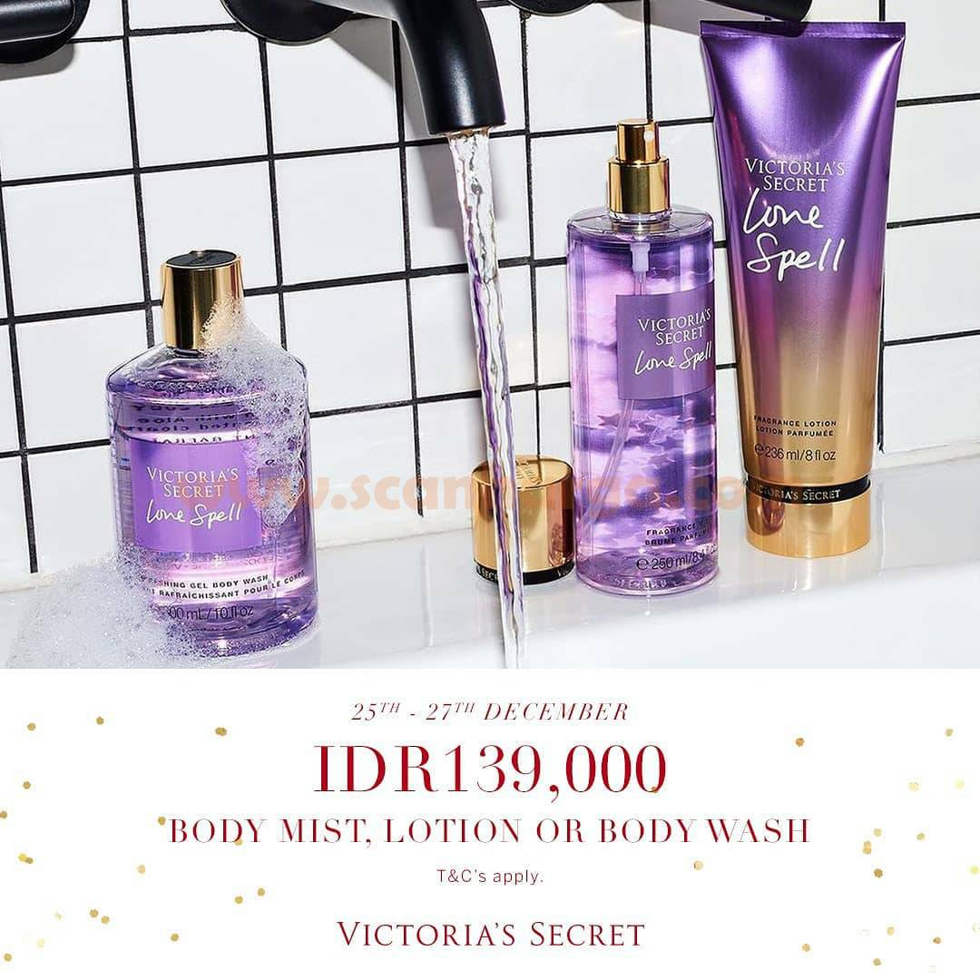 Promo Victoria's Secret Xmas Weekend – Special Price For Body Mist, Lotion or Body Wash only IDR 139.000!