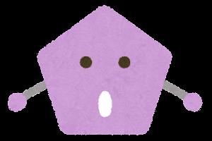 五角形のキャラクター(驚いた顔)