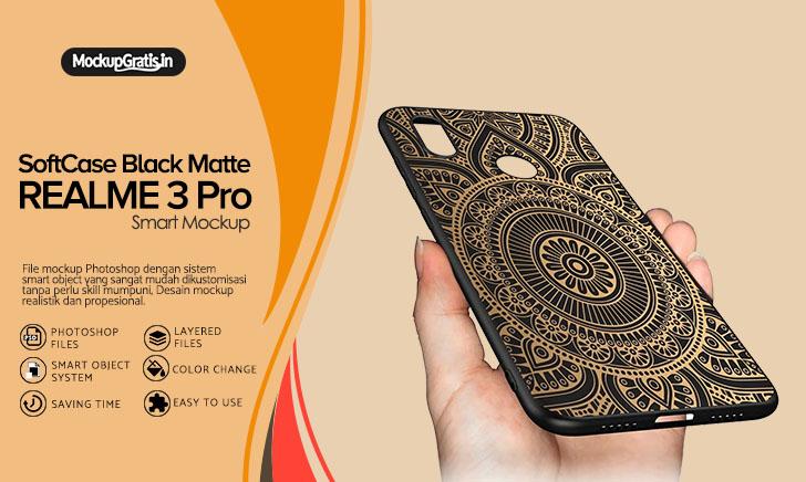 Mockup Case Realme 3 Pro Softcase Black Matte