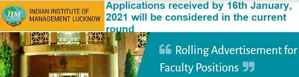 IIM Lucknow Faculty Vacancy Recruitment 2020-21