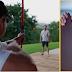 Chris Hemsworth catches a flying arrow fired at him by Matt Damon