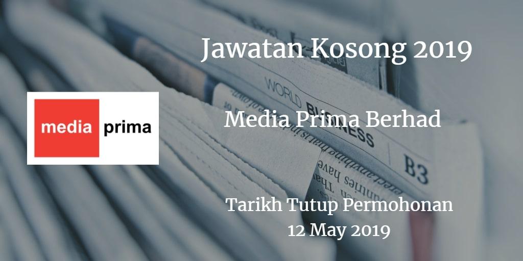 Jawatan Kosong Media Prima Berhad 12 May 2019