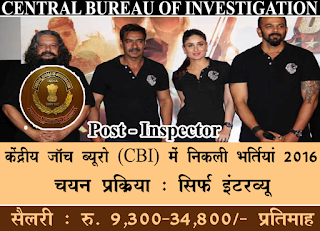 CBI 25 Inspector Recruitment 2016 cbi.nic.in