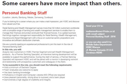 Lowongan Kerja PT Bank HSBC Indonesia Oktober 2019