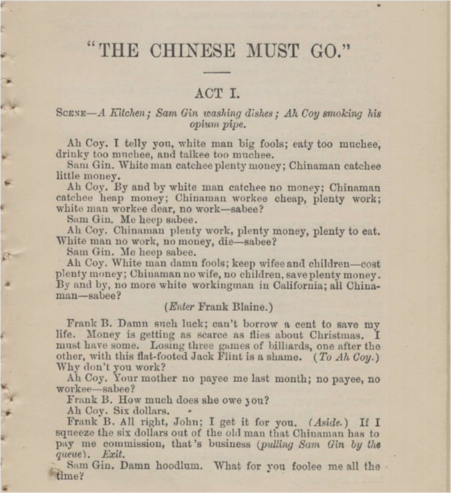 The chinese exclusion act essay
