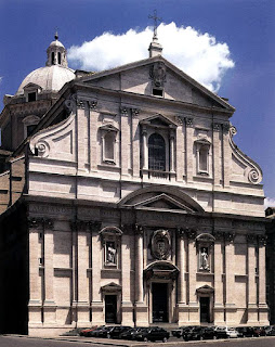 The baroque facade of the Church of the Gesù, which Michelangelo offered to design for free