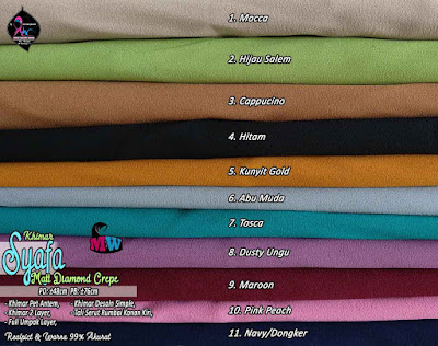 Khimar Diamond Crepe Desain Simple dua layer
