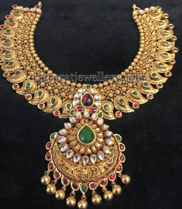 Heavy Antique Mango Necklace Jewellery Designs