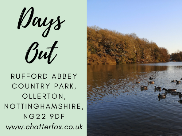 image title reads 'days out visiting rufford abbey country park, ollerton, nottinghamshire, NG229DF, www.chatterfox.co.uk'. Image to the right is of the woodland, pram and disabled friendly pathway and the large lake with ducks and geese that is in the centre of the park.