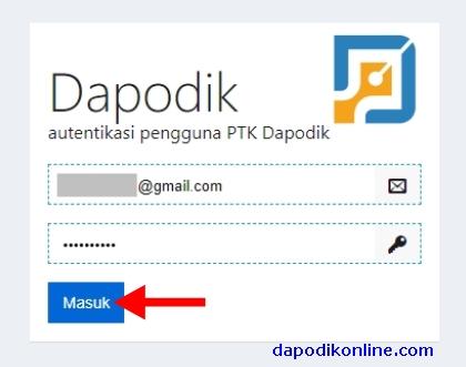 Masukkan Akun /Email PTK Dapodik terverifikasi, password, dan klik masuk