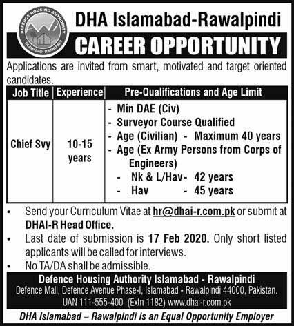 Defence Housing Authority Islamabad Jobs 2020