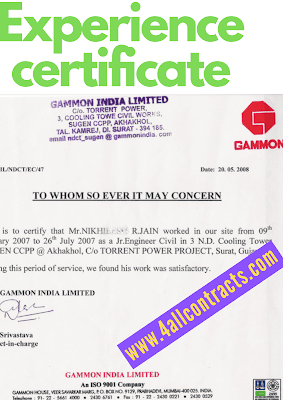 Experience Certificate Format PDF