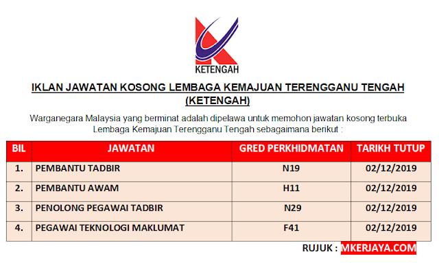 Iklan Pelbagai Jawatan Kosong Dibuka Lembaga Kemajuan Terengganu Tengah 2019 Malaysia Kerjaya