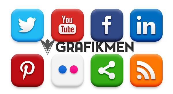 20 Popüler Sosyal Medya ikonu PSD ve PNG Dosyaları