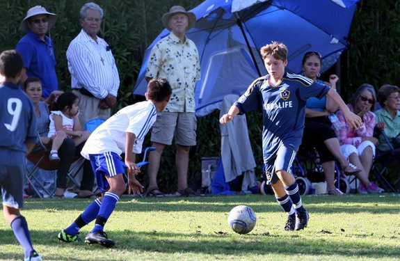 Brooklyn was on the U-14 roster at the LA Galaxy academy while his dad played in California