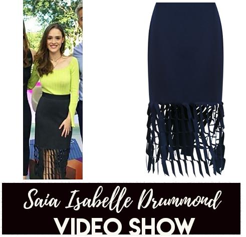 A saia  marinho com vazado da Isabelle Drummond no Video Show