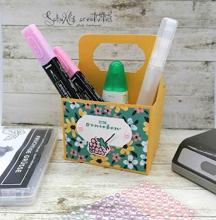 Designerpapier SAB Wiesenblumen; Stempelset SAB fruchtige Grüße; Perlenschmuck in Pastelltönen; Stanze zeitloses Etikett