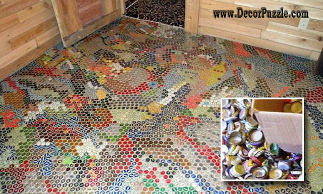 bottle cap flooring, unique flooring, creative flooring, cheap flooring ideas, flooring options