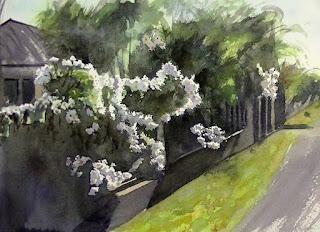 マスキングを剥がして花の陰影を描いたところ