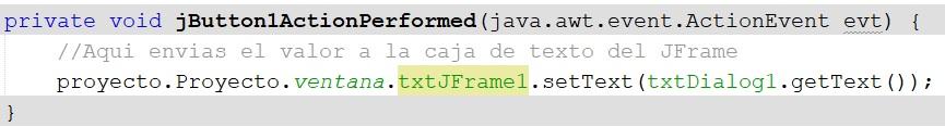 Retornar valor JFrame Java