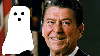 Humorous Image of President Reagan's Ghost, who was interviewed on The Crazy Comedy, Humor & Satire Podcast