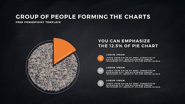 Free PowerPoint Template with Group of People Forming The Pie Chart for Emphasize 12.5 % Business Area with Dark Backgrounbd