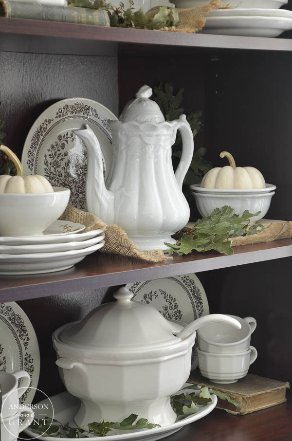 A collection of Ironstone can made a beautiful fall display.  |  www.andersonandgrant.com