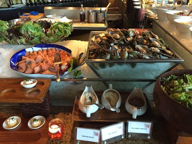 Cold seafood station at Seven Corners Restaurant