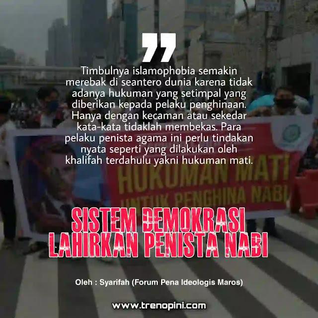 Kasus Penghinaan terhadap Nabi sudah sering terjadi, namun tidak ada tindak tegas dari penguasa untuk menghentikan penghinaan ini. Melainkan hanya sekedar kecaman yang notabenenya tidak mempengaruhi mereka. Olehnya Advokat muslim LBH Pelita Umat, Ahmad Khozinuddin, dalam aksi damai Bela Nabi Aliansi Ormas Muslim Indonesia (AOMI) pada 4/11/2020, menegaskan umat tidak akan berhenti berjuang membela Rasulullah.