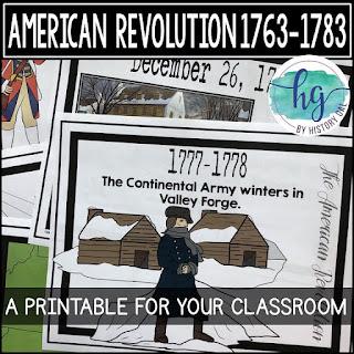 Thumbnail image of American Revolution Printable Timeline by History Ga