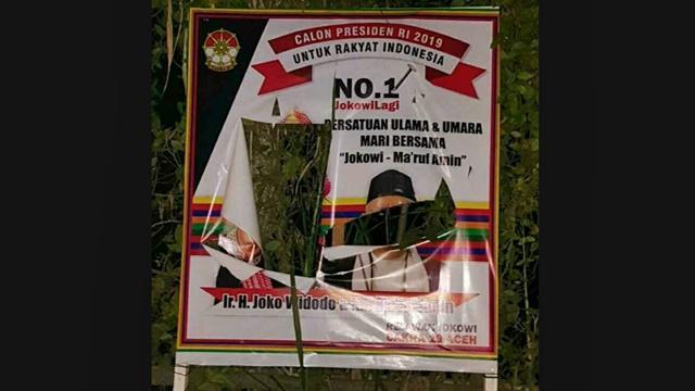 Sejumlah Baliho Jokowi - Ma'ruf Amin Dirusak di Aceh