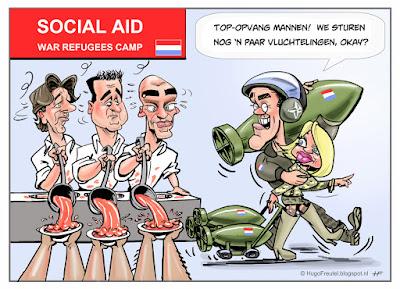 cartoon vluchtelingen en oorlogswerk met Koenders Asscher Samsom  Rute en Hennis
