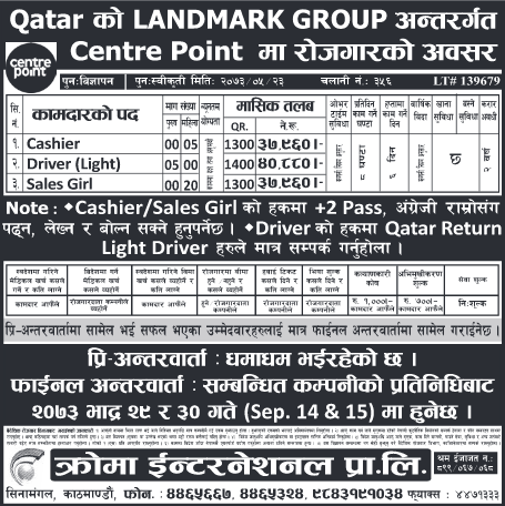 Free Visa, Free Ticket, Jobs For Nepali In QATAR, Salary -Rs.40,880/