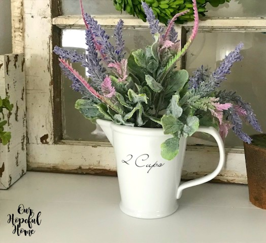 ironstone measuring cup lambs ear faux flowers