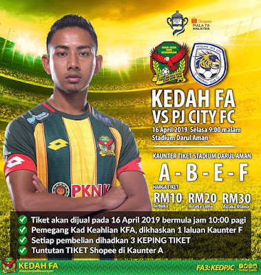 Live Streaming Kedah vs PJ City Piala FA 16.4.2019