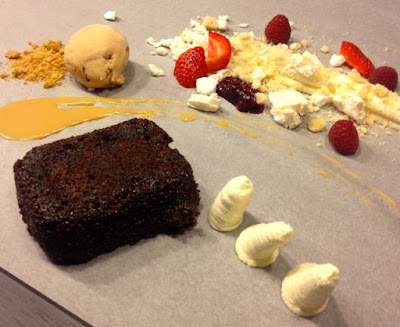 Deconstructed sticky toffee pudding and eton mess