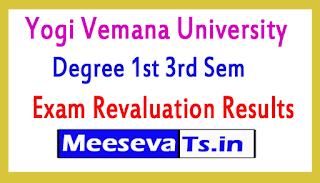Yogi Vemana University Degree 1st 3rd Sem Exam Revaluation Results