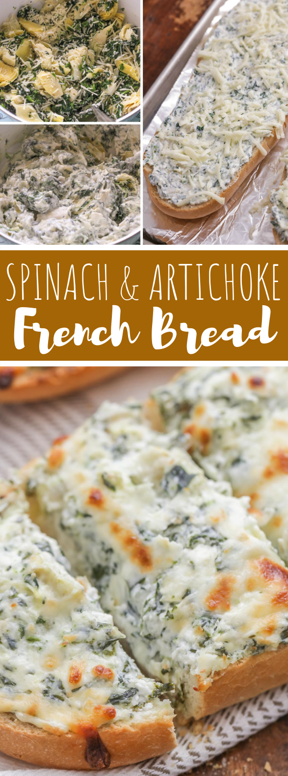 CHEESY SPINACH ARTICHOKE BREAD #vegetarian #appetizers