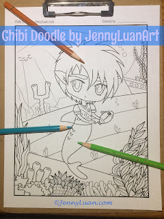Chibi Doodle Shark Boy Playing Football Coloring Page by JennyLuanArt