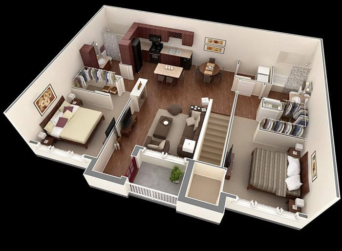 2 yatak odalı  villa modelleri