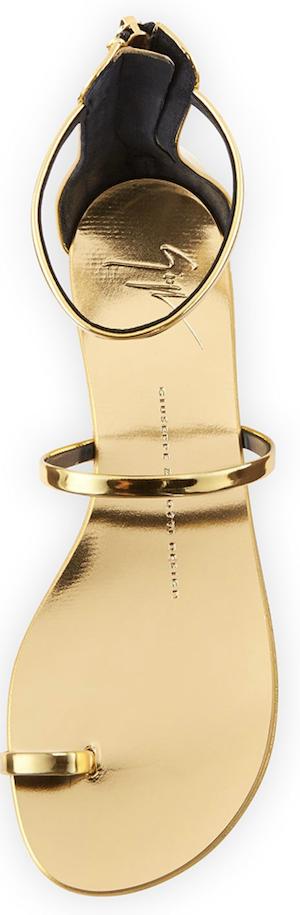 Giuseppe Zanotti  Metallic Toe-Ring Flat Sandal