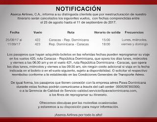 Nuevo comunicado de Aserca Airlines, suspensión vuelos a Republica Dominicana. Suspensión de la ruta Caracas – Santo Domingo por Aserca Airlines.