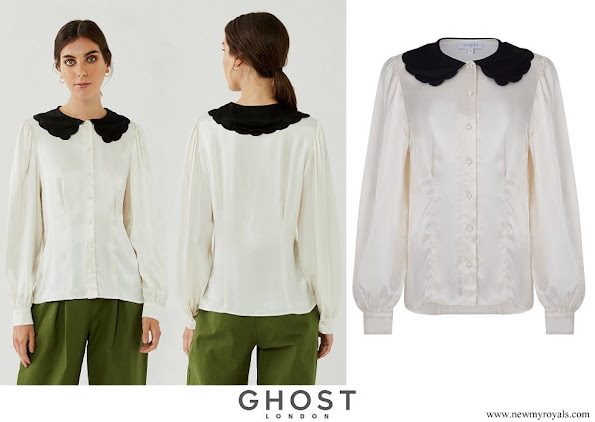 Kate Middleton wore a new satin ivory Peter Pan–style collar blouse from Ghost London