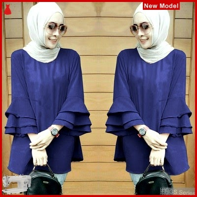 FHGS9171 Model Blouse Maroco Navy, Wolly Blouse Perempuan Crepe BMG