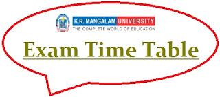 KR Mangalam University Exam Date Sheet 2020