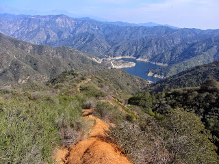 View east from the ridge route toward San Gabriel Canyon and Morris Reservoir